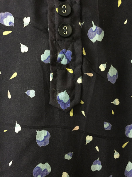Shirtdress - Petals Printed Darkest Blue Shirtdress - Drooping Shoulders