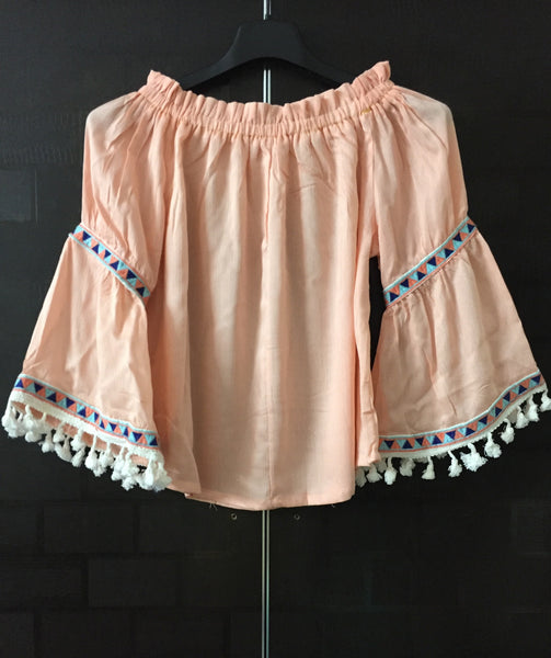 Bell Sleeved -  Peach Off shoulder Top with lace and tassels - #FTFY - For The Fun Years