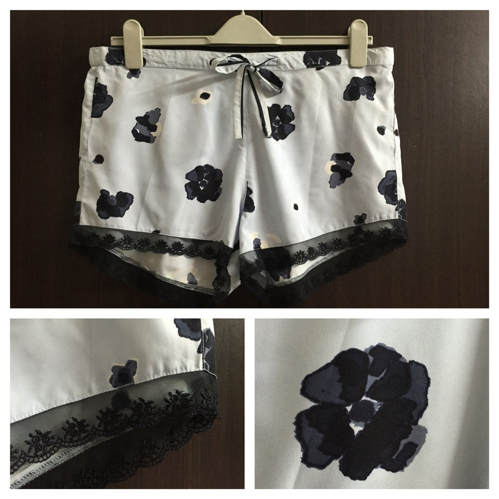 Light Blue Shorts with Dark Blue Flowers