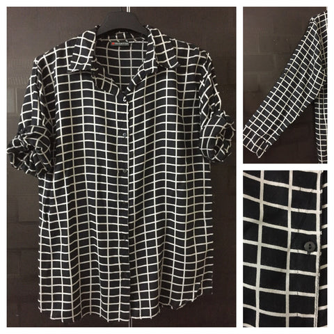 Checks - Black and White box Checks shirt