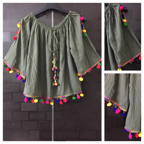 Pretty Dark Green On - Off Should - Arm Revealing Top with multicolor pom-poms