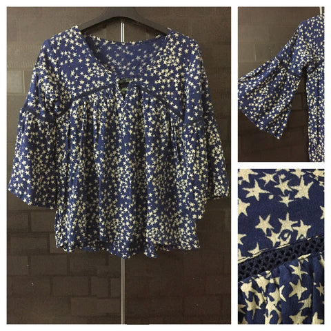 Fun Sleeved - Little cut-work lace - many Stars Navy Blue top