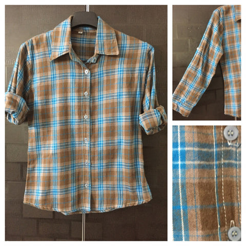 Checks - Outside light woolen, Inside Cotton - Blue, Brown and White Check shirt