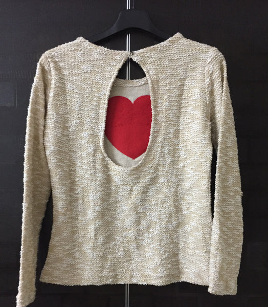 Warm - Red Patched Heart Top - Brown