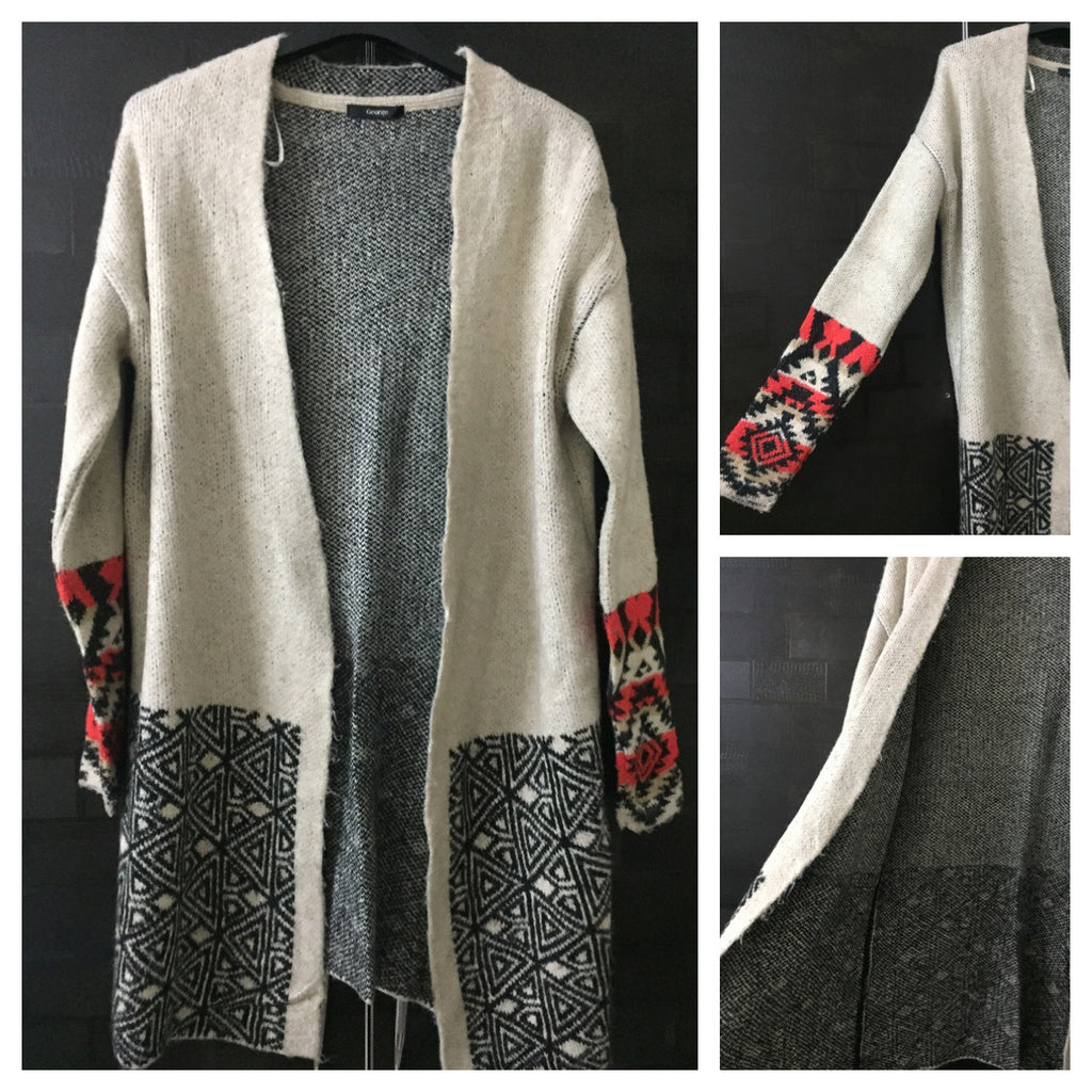 Warm - Black and Cream Long Sweater with Vibrant Candy Red on sleeves