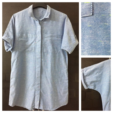 Comfort Fit - Casual Blue Shirt with Neon Threads