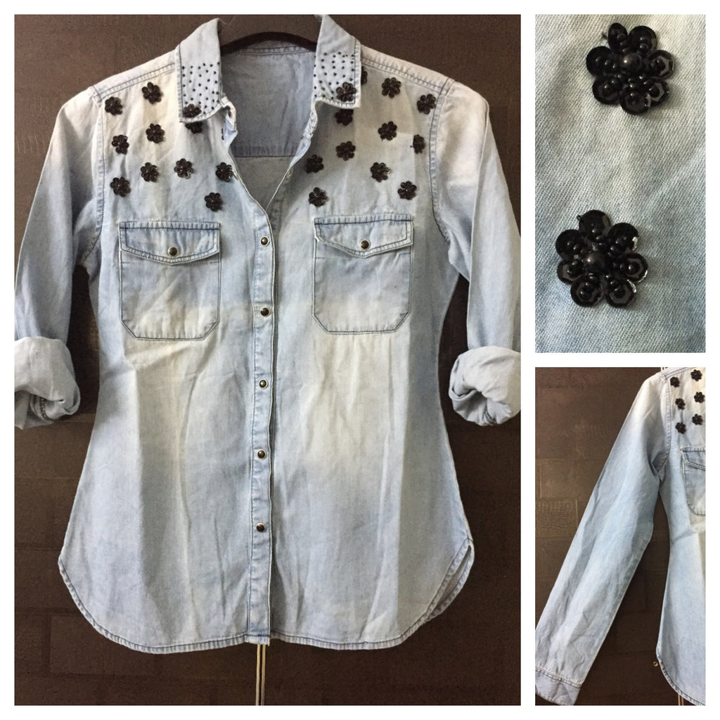 Stylish Sequined Denim Shirt - black sequins.
