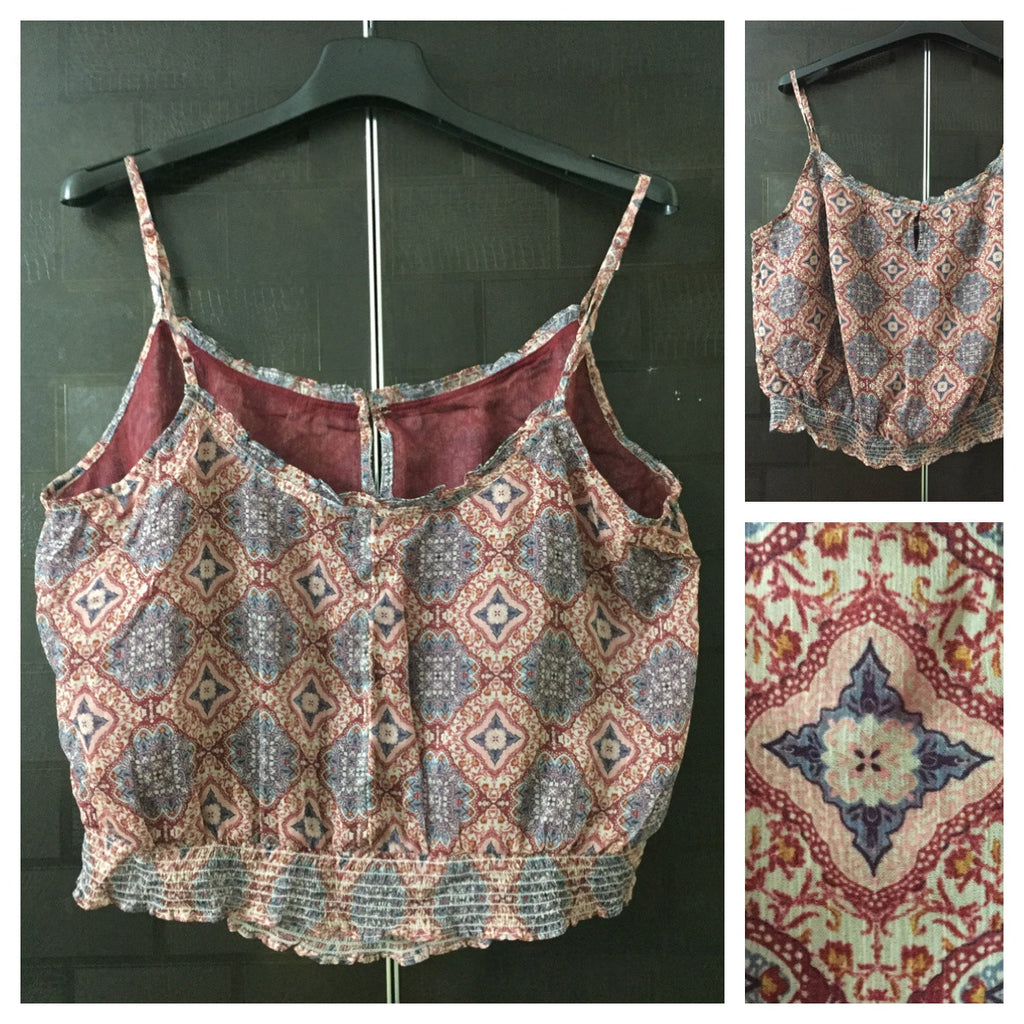 Short / Crop Maroon Floral Spaghetti Top with Maroon Lining