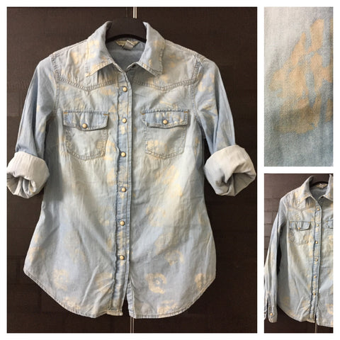Light Blue Denim Shirt with Brown Spotted Look.