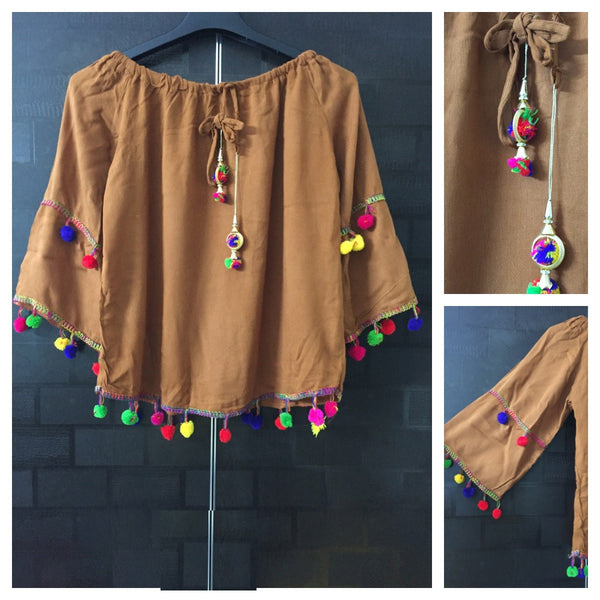 Festive Brown Off shoulder Top with colorful Pom Poms