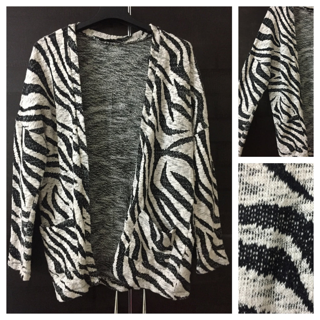 Warm - Black and Cream, drooping shoulders animal print sweater