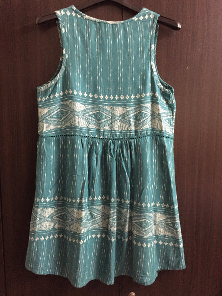 Green & Cream Casual Dress