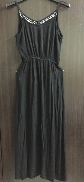 Stylish Black Maxi Dress with white Embroidery Design