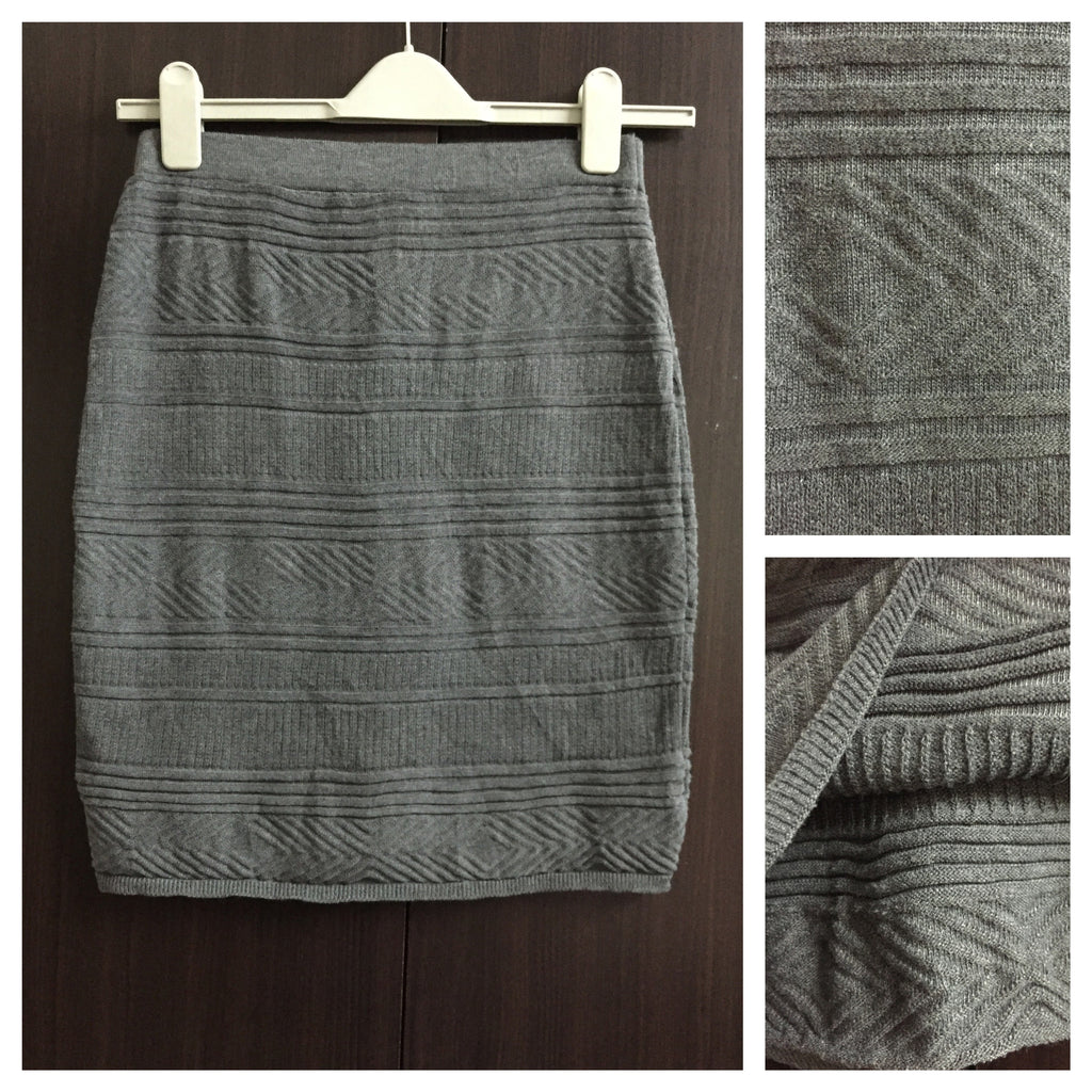 Grey Woven Knee Length Skirt - #FTFY - For The Fun Years