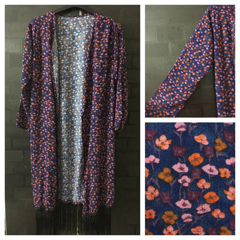 Black or Grey Tasseled, Orange and Pink Tiny Flowers on Blue Long causal Shrug
