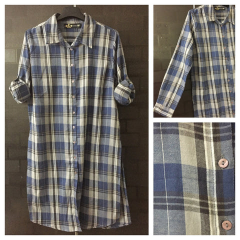 Checks - Grey, Blue and Grey Shirtdress with full front buttons