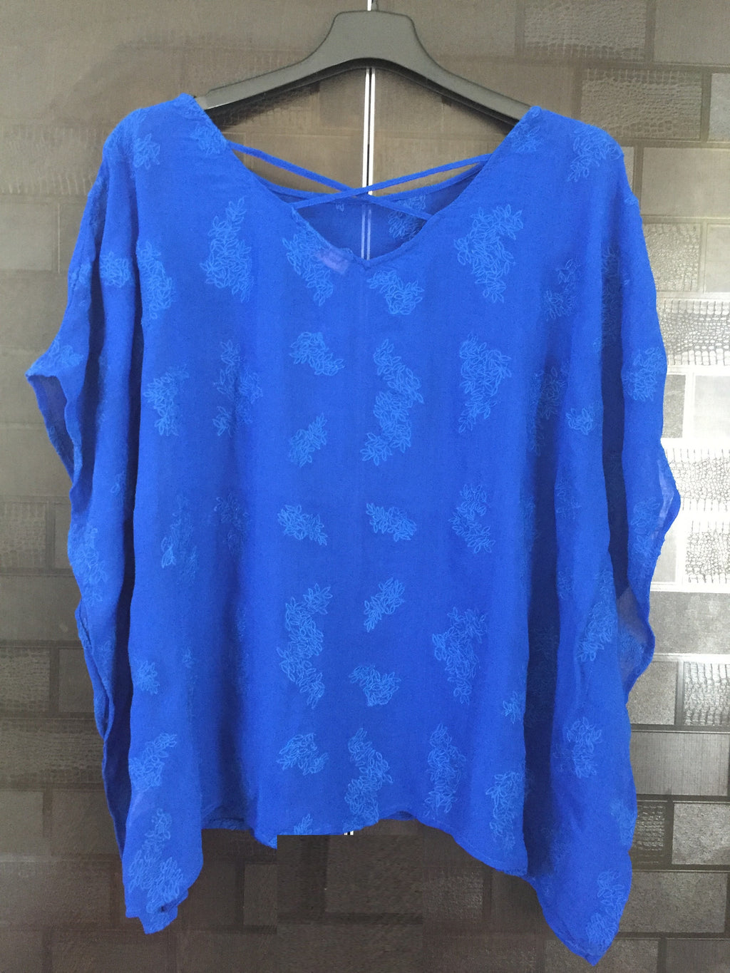 Blue Kaftan Style Top with Blue thread-work