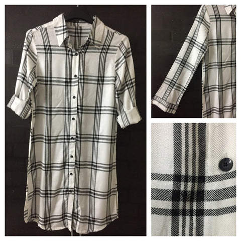 Checks - Black and White - White Major Shirtdress with full front buttons