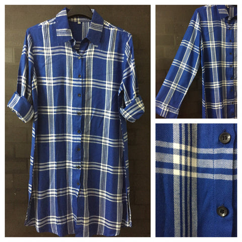 Checks - Blue and White - Blue Major Shirtdress with full front buttons