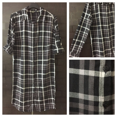 Checks - Black, White and Grey Shirtdress with full front buttons