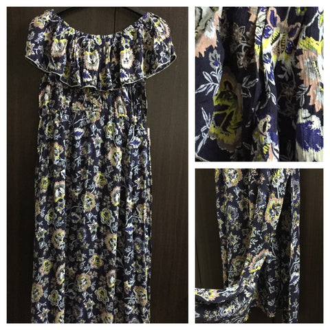 Dark Blue Floral Print, On - Off Shoulder, Maxi Dress - #FTFY - For The Fun Years