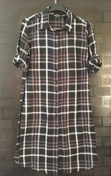 Checks - Shirtdress - Black, Grey and White Shirtdress