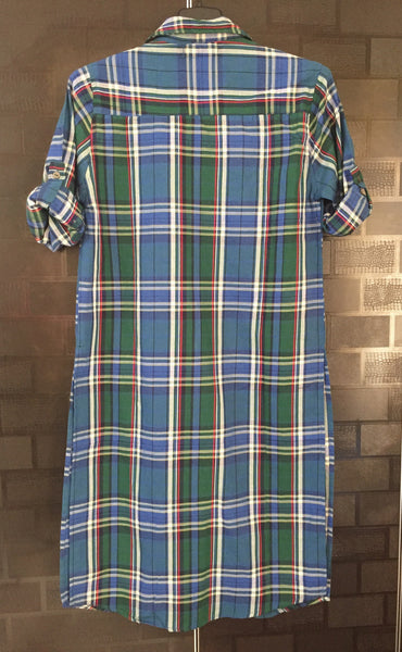 Checks - Shirtdress - Green, Blue and Red Shirtdress