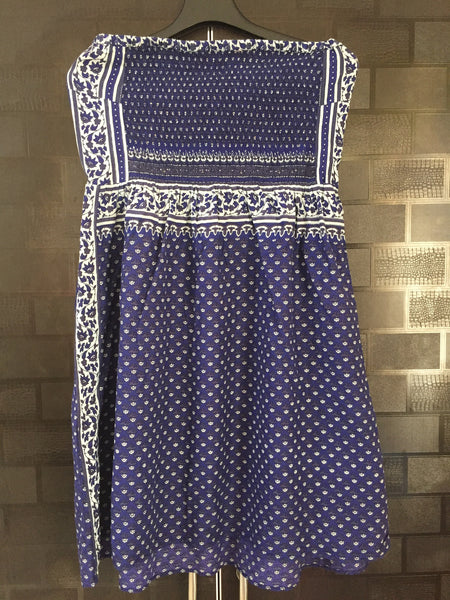 Blue and White Cute Tube Dress with Floral side Panel