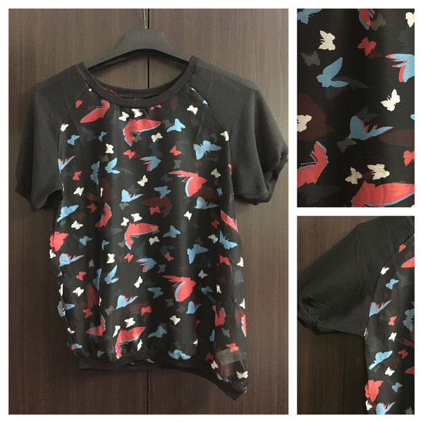 Pink Blue Butterfly Top