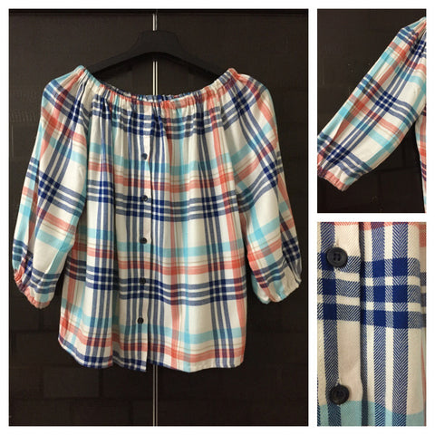 Checks - White Blue and Red Off shoulder top with full front buttons