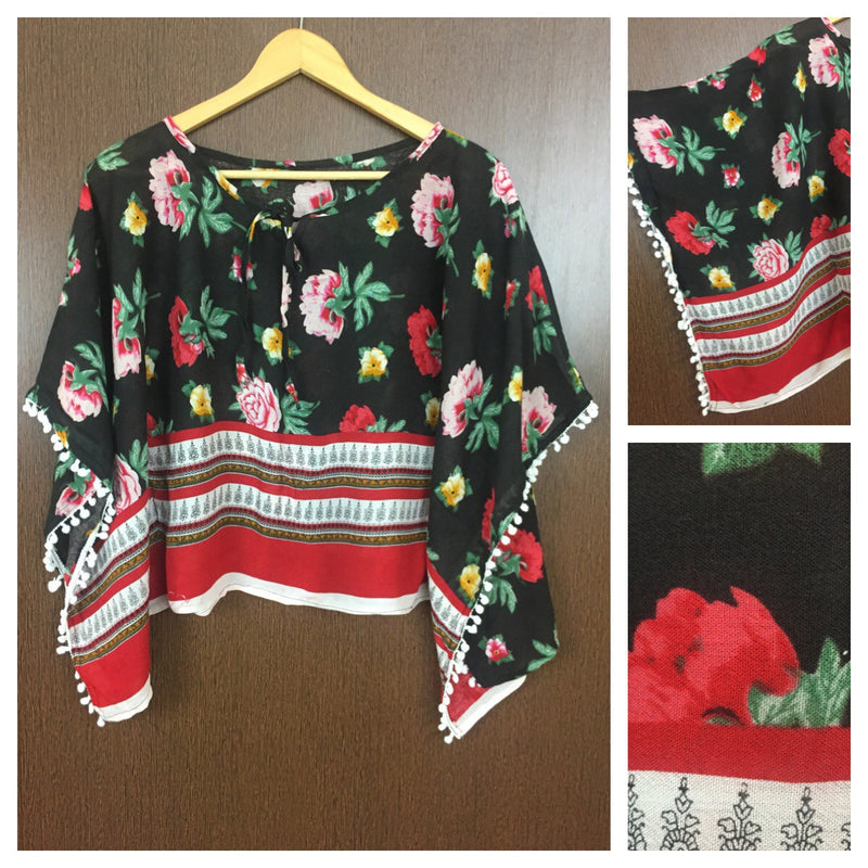 Printed Poncho Style Top - Big Flowers on Black Top with White Pom-Poms