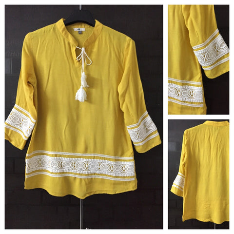 Pastel Mustard Yellow - Closed Neck Top with lace detail