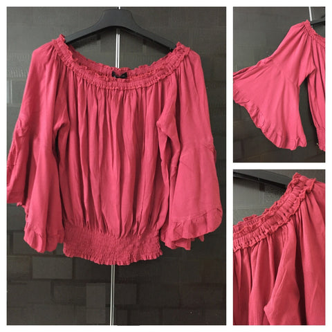 Fun Sleeved, On - Off shoulder, Darkest Pink Balloon Style Top