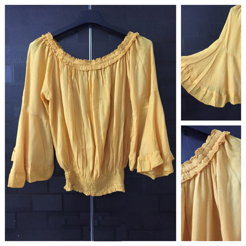 Fun Sleeved, On - Off shoulder, Mustard Yellow Balloon Style Top