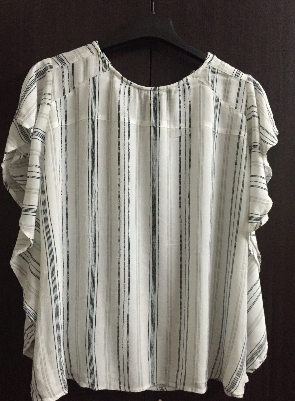 White Cotton Stripes Comfy Top