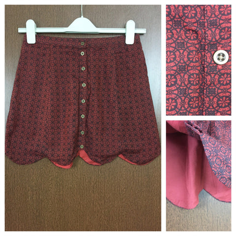 Black Prints on Maroon Skirt with full front buttons
