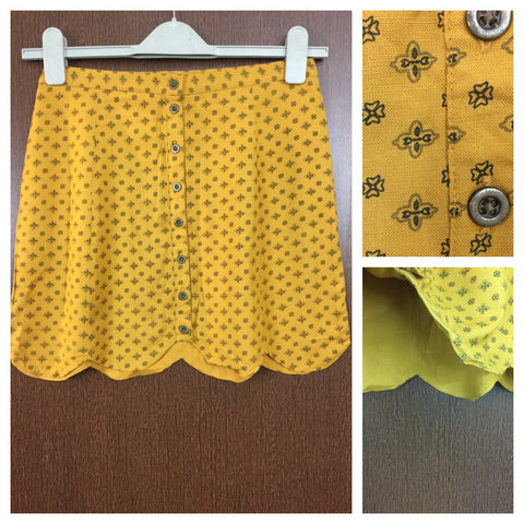 Little Black-Green Prints on Mustard Yellow Skirt with full front buttons