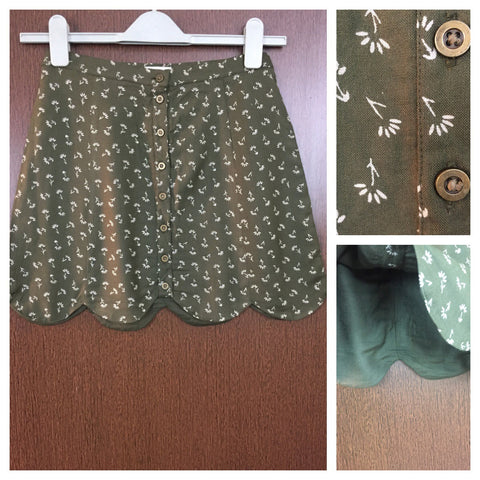 Little Brown Flowers on Mehendi Green Skirt with full front buttons