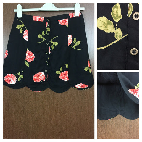 Big Orange Flowers with Shimmer Tinge Black Skirt with full front buttons