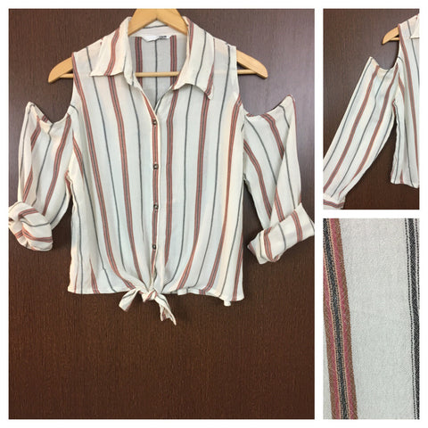 Summery - Light Striped Cold Shoulder Shirt - Maroon,Brown and Black on Cream with front knot
