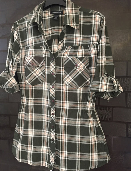 Checks - Waist Fitted, Green Brown and White Shirt