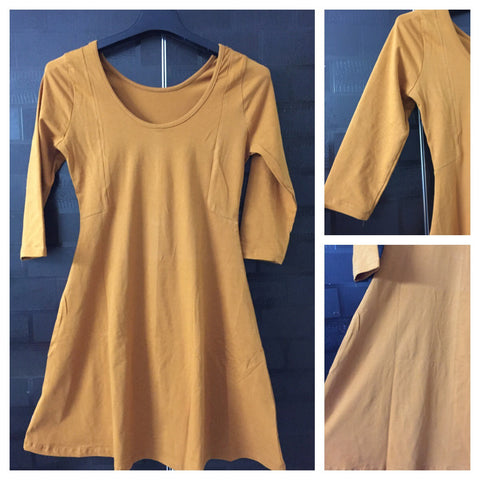 Knee Length Bodycon Dress - Mustard. Flared and little stretchable