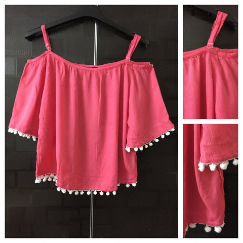 Beautiful Plain Pink Cold - Shoulder Top with Pom Poms