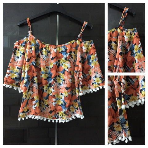 Beautiful Multicolor Orange,Yellow & Blue Floral Cold - Shoulder Top with Pom Poms