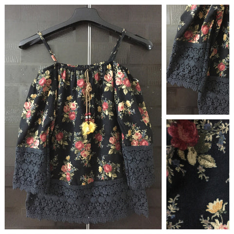 Feather and Lace -Red & Yellow Flowers on Black Printed Cold Shoulder Top