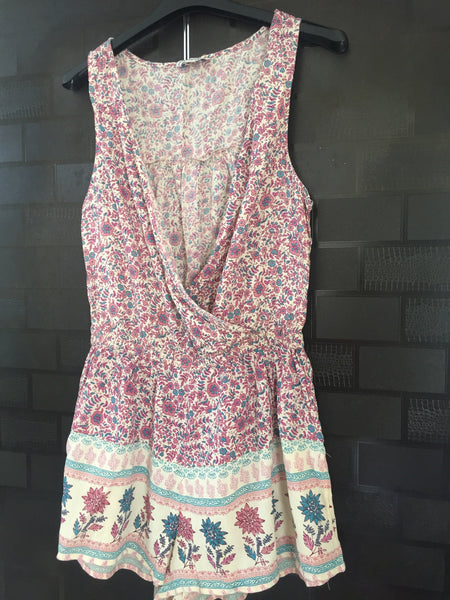 Cream and Pink Floral Jumpsuit