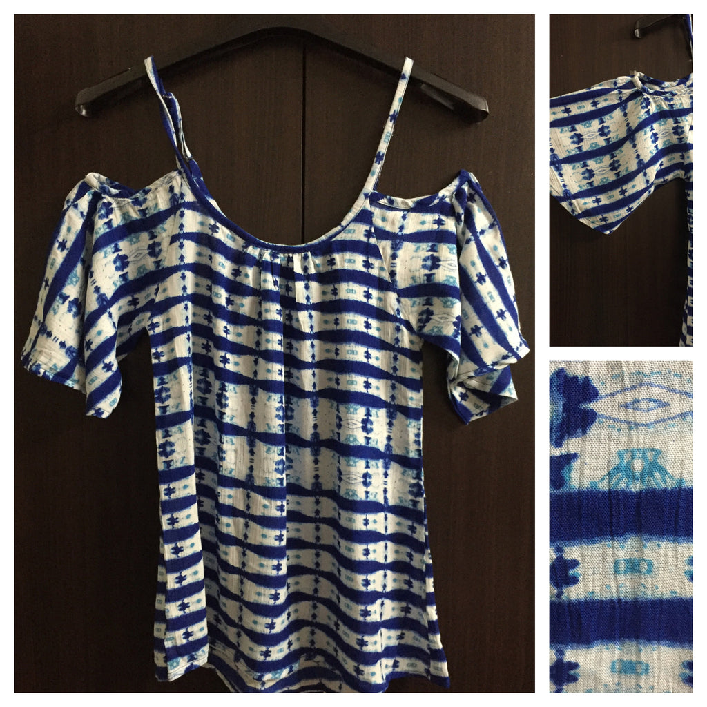 Printed Cold - Shoulder Pretty Blue Top