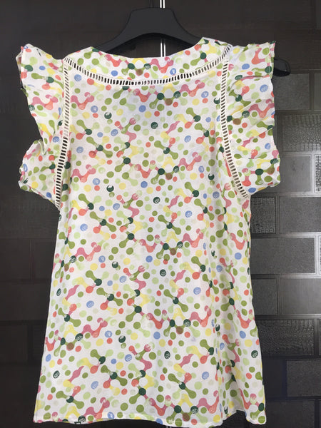 Little Dots, Front Flared Sleeveless Top