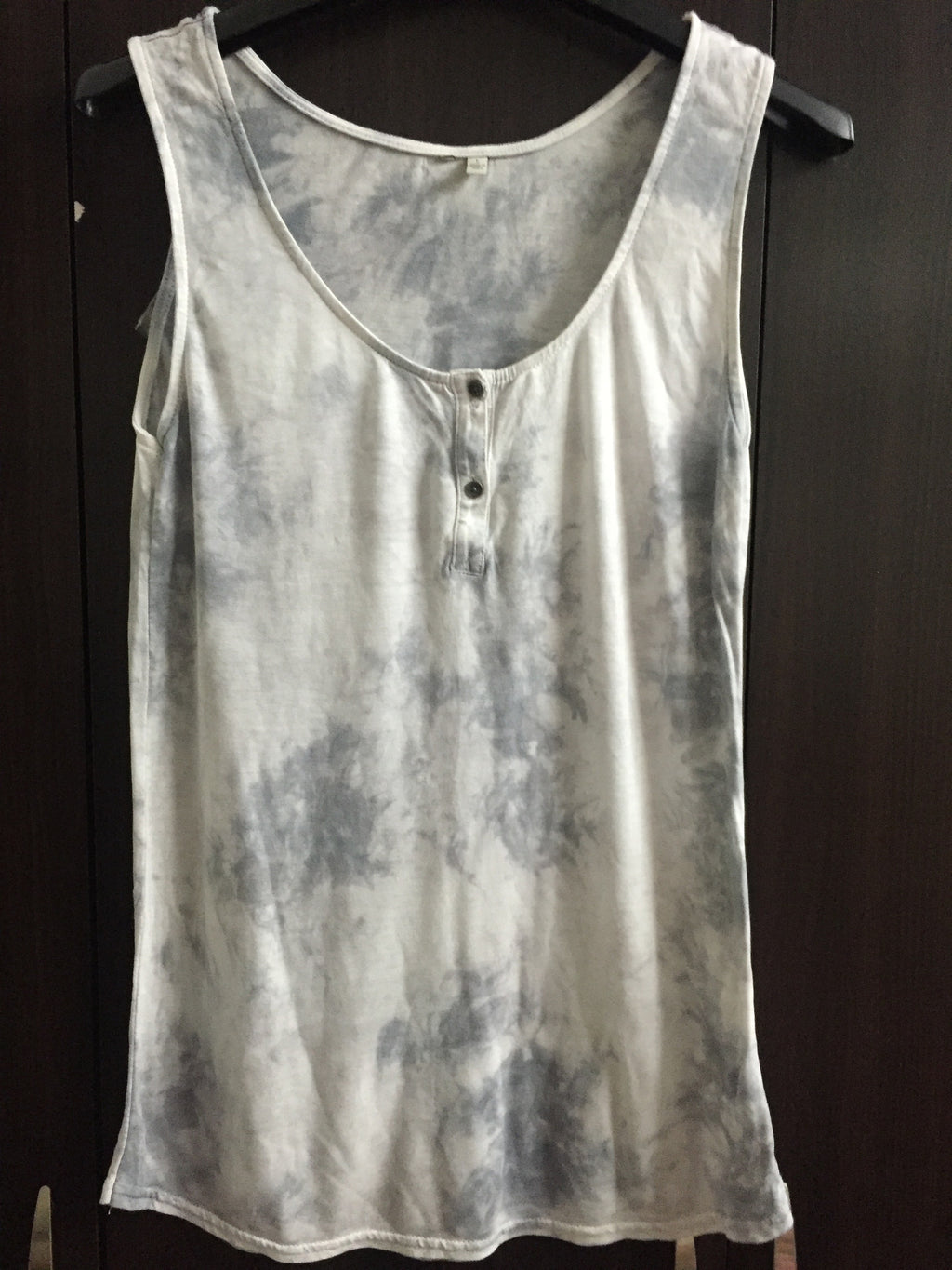 Washed out, Grey and Silver Sleeveless Top.