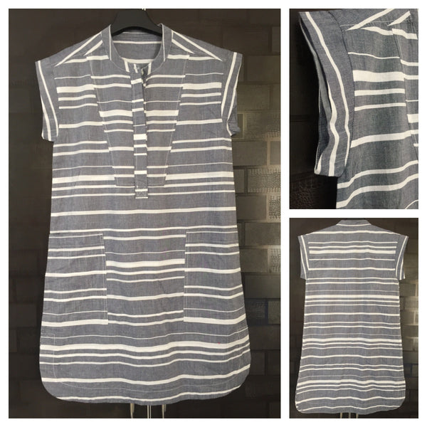 Grey and White Stripes Long Tunic with Stylish Long Pockets